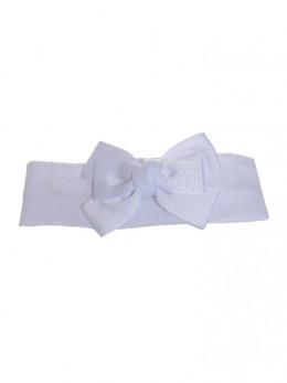 bandeau blanc cérémonie bébé avec noeud