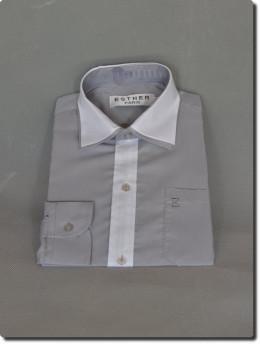 Chemise de cérémonie garçon manche longue bi-color blanche et grise