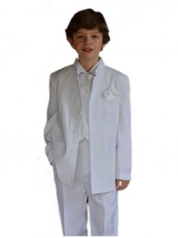 Costume garçon col mao blanc TRISTAN JUNIOR