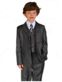 Costume garçon cérémonie gris 5 pièces VINCENT