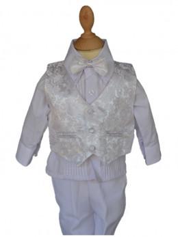 Vêtement de baptême garçon, petit prix blanc SAM.