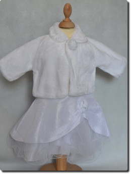 Manteau foururre blanc fille cérémonie