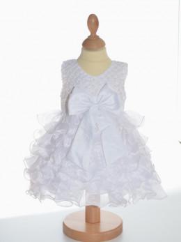 Robe de bâpteme blanche LORIE, tenue de baptême original pour fille pas chère