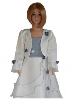 Robe de cérémonie pour fille ivoire/grise avec boléro LAURA