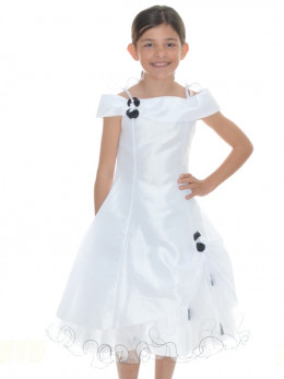 0c760ec60e6 Robe cérémonie fille pétales blanche et noire AMÉLIA