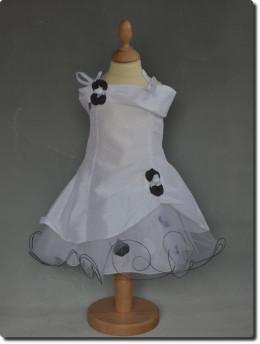 Robe de cérémonie fille pétales blanche et noir fille AMÉLIA
