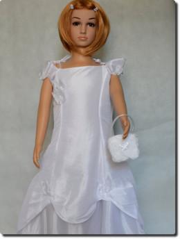 Robe cérémonie enfant petit prix pour mariage, communion blanche LISA