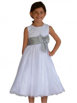 Robe de cérémonie petit fille pour mariage, blanche et grise SABINE