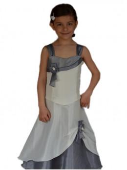 Robe pour demoiselle d'honneur enfant ivoire et grise avec étole ELENA