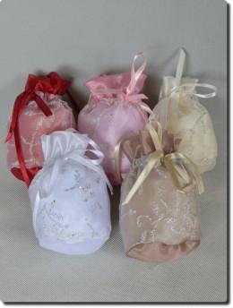 Aumônière de cérémonie enfants, blanche, ivoire,bordeaux,choco