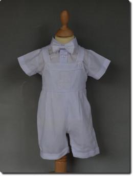 Salopette de baptême blanche petit OURSON