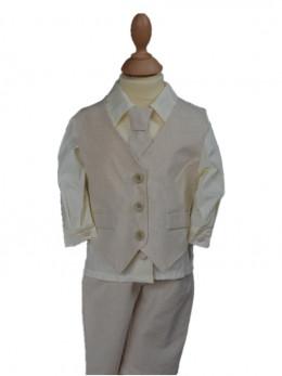 tenue de cérémonie garçon pour baptême, mariage, ensemble garçon en lin, tenue de baptême ivoireThéo à petit prix