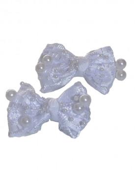 Barrettes blanches fleurs et perles pour cérémonie enfants