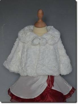 Veste de cérémonie fille fourrure ivoire