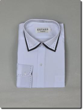 Chemise garçon manche longue bi-color blanche et noir