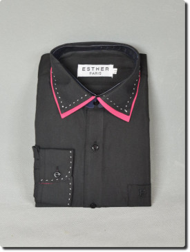 Chemise  de cérémonie garçon manche longue bi-color noir/fuchsia