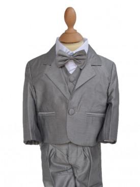 Costume de cérémonie bébé garçon gris 5 pièces LEO, Costume bébé pour baptème, mariages, pas chère