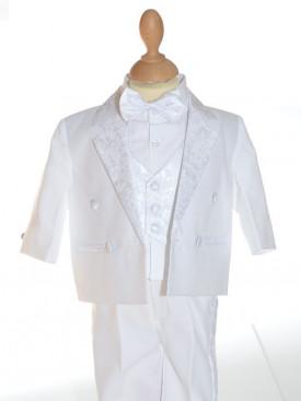 Costume garçon cinq pièces blanc pour mariage