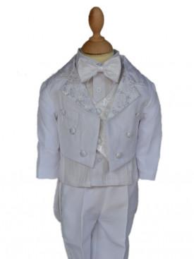 db1fffae031 costume mariage bébé blanc queue de pie avec noeud papillon LORENZO