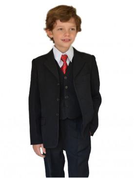 Costume garçon noir Antonin, tenue de cérémonie pour garçon 5 pièces avec cravate, tenue pour communion enfant, petit prix