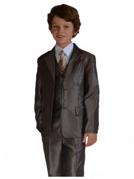 Costume enfant cérémonie de couleur marron 5 pièces pour cortège à petit prix