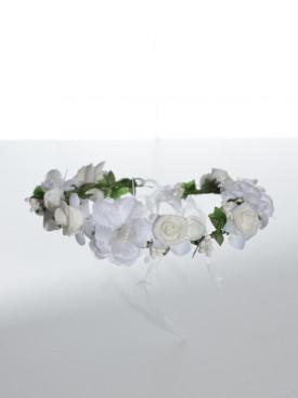 Couronne de fleurs blanche pour cérémonie fille, accessoire pour parfaire coiffures enfants pour mariage, baptême, communion