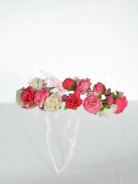 Couronne de fleurs fuschia pour cérémonie fille, accessoires pour parfaire les coiffures d' enfants pour cérémonie