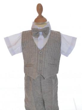 Vêtement de cérémonie garçon ENZO, tenue pour baptême en lin à rayures, tenue de cérémonie garçon à petit prix