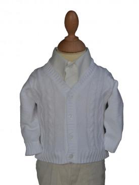 Gilet blanc de cérémonie garçon pour baptême, cardigan bébé cérémonie