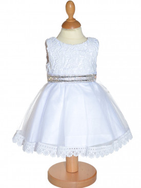 1ccb9e3ed72be Robe de cérémonie petite fille blanche LILA