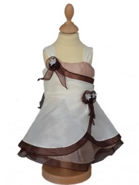 Robe pour cérémonie bébé fille ivoire et choco CARMEN