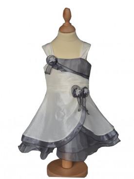 Robe pour cérémonie ivoire et grise LUCE, tenue pour bébé mariage à petit prix