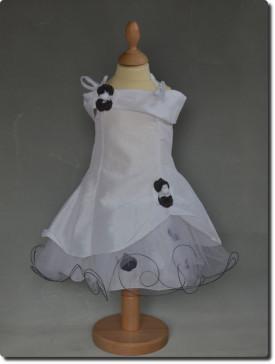 Robe de cérémonie pétales blanche et noir fille AMÉLIA