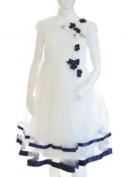 3cf768664a robe mariage fille couleur écru et fleurs bleu marine