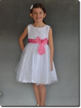 Robe de cortège pour enfant blanche et rose SABINE, robe cérémonie enfants pas chère