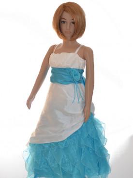 Robe de cérémonie fille turquoise, cortège TATIANA pas chère