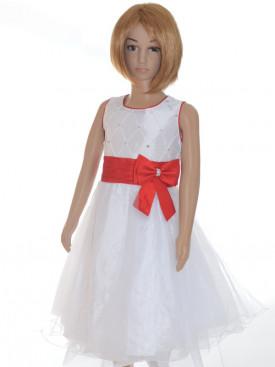 Robe cérémonie fille blanche et rouge MARION