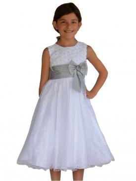 Robe petit fille pour mariage, blanche et grise SABINE