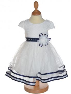 6130b637a73af Robe de cérémonie fille bleu marine JULIETTA