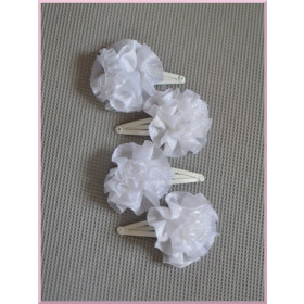 Lot de 4 barrettes blanches de cérémonie bébé