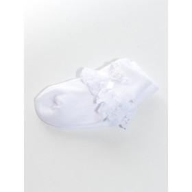 Chaussette blanche de cérémonie dentelle bébé Romane