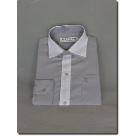 Chemise garçon manche longue bi-color blanche et grise