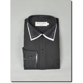Chemise garçon manche longue bi-color noir et blanche