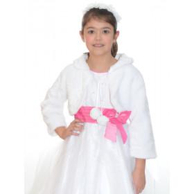 Boléro fille en fourrure blanc pour cérémonie CAPRIE.