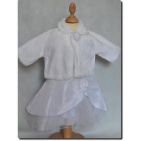 Manteau foururre blanc fille baptême, communion