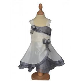 Robe de cérémonie bébé fille ivoire/grise LUCE