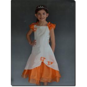 Robe mariage fille ivoire/orange RAPHAELLA