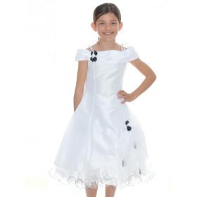 Robe cérémonie fille pétales blanche et noire AMÉLIA