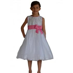Robe de cérémonie fille blanche et rose LÉA