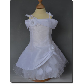 Robe de cérémonie bébé fille pétales blanche ROMANE